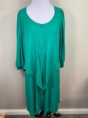 41e785b0dad08 Maeve Anthropologie Green Tiered Ruffled 3/4 Sleeve Dress Gathered Sz 8