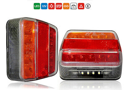 Pair 12V Led Rear Tail Stop Indicator Lights Lamp Trailer Cab Tipper Waterproof