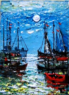 Original  ACEO oil painting seascape boats sunset gift fine art