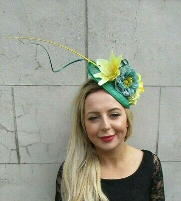 Emerald Green Lemon Yellow Flower Feather Disc Saucer Hat Fascinator Hair 7079