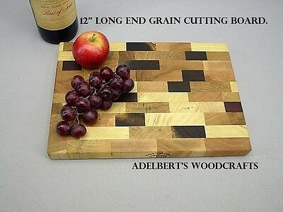 "12"" x 8.5"" x 1 "" Thick end grain hard wood cutting board Made in America."