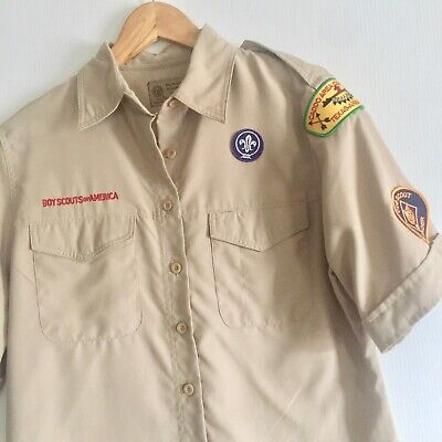 BOY SCOUTS OF AMERICA Womens Uniform Button Down Shirt Ladies Small Vented Back