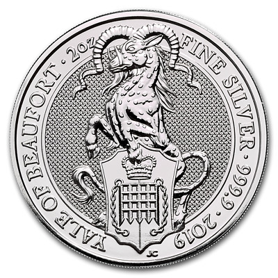 2019 Queen's Beast Collection The Yale Of Beaufort 2 oz .9999 Silver BU Coin