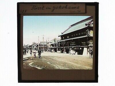 Glass Magic Lantern Slide - Street In Yokohama Japan - Hand Tinted