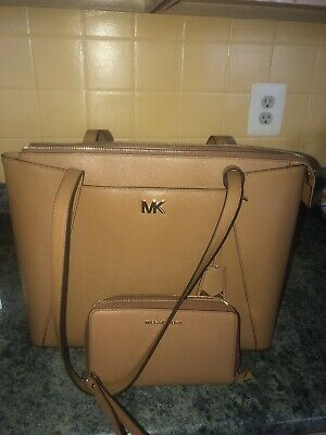f618fe135088 New Michael Kors Maddie Tote & Matching Saffiano Large Jet Set Wallet In  Acorn