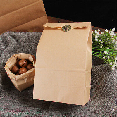 10pcs Vintage Brown Kraft Paper Bags Gift Food Bread Candy Party Bag Fad UK