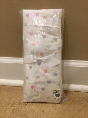 NEW Pottery Barn Baby Kids ORGANIC Heart Crib Fitted Sheet MULTI