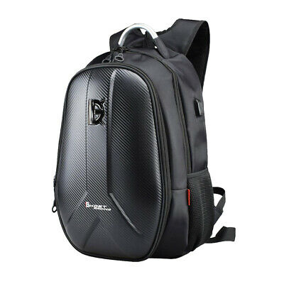 Motorcycle Bike Backpack Bag Hard Shell Travel Shoulder Bag Black