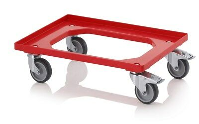 Eurobox Scooter Red 600 x 400 with Rubber Tires Brake Transporter Kistenwagen