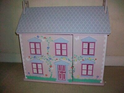 Pink Wooden, 3 storey Doll House, with good selection of furniture