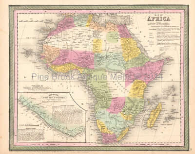 Africa Antique Map Original African Decor History Gift Ideas DeSilver 1854