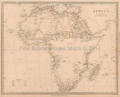 Africa Antique Map Original African Decor History Gift Ideas SDUK 1839