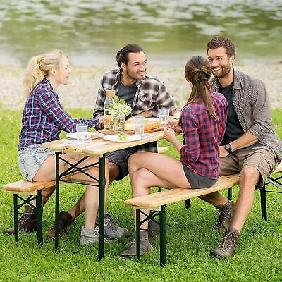 Wooden Trestle Beer Table And Bench Set Folding Outdoor Dining Furniture Set NEW