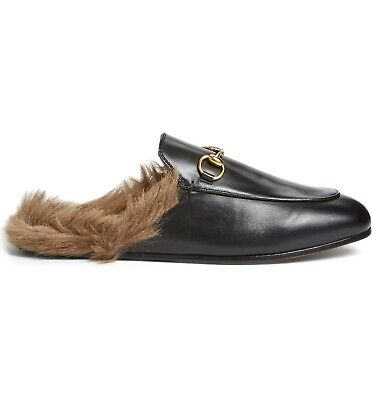 06a73eb4076 GUCCI Women s Princetown Genuine Shearling Loafer Mule In Black Size 40(15)