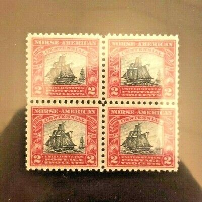 US Stamps Scott #620 Mint NH MNH Norse American 2c Block of four!
