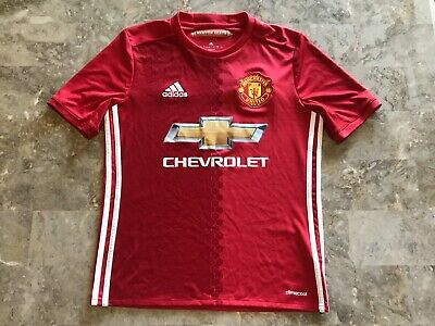 5988c42b31b Kids Adidas 2016-2017 Manchester United Red Home Soccer Jersey Youth Size  Large