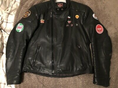 S44 Black Leather Motorcycle Jacket 50s Ton Up Rocker Badges And Patches Retro