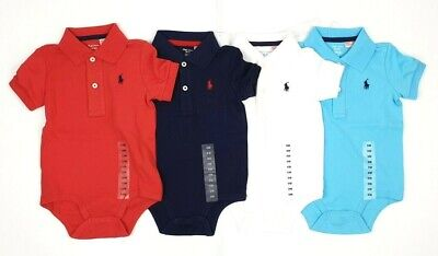 Polo Ralph Lauren Baby Boys Baby Grow Bodysuit White Navy Blue