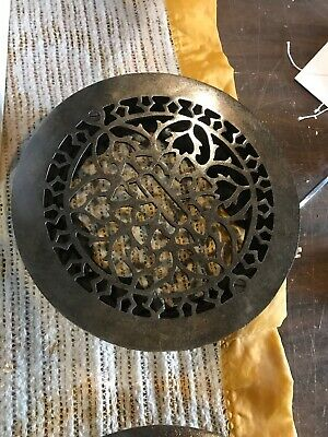"Rr Antique cast-iron round heating grate refinished 9 3/8"" Fits 8"" Opening"