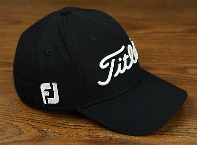 Titleist Golf Dobby Tech Lightweight Fitted Hat Cap Black White S M NEW b239fcf77c1