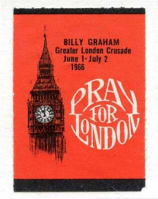 "Great Britain Poster Stamp - 1966 - Rev. Billy Graham ""Pray for London"" Crusade"