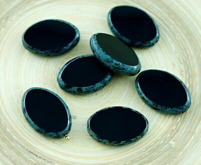 4pcs Picasso Opaque Black Large Flat Oval Window Table Cut Czech Glass Beads ...