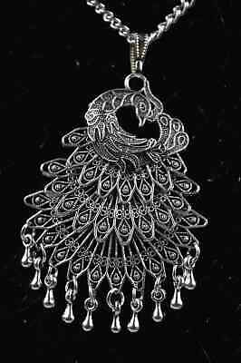 China Collectable Handwork Old Miao Silver Carve Beauty phoenix Decor Necklaces