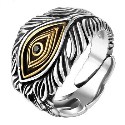 Men Opening Retro Style Cool Ring Vintage Eye God 925 Silver Adjustable Jewelry
