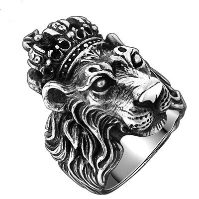 Men Authentic Crown Lion King Ring Real Solid 925 Sterling Silver Vintage Jewelr