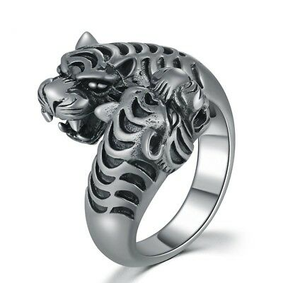 Men Vintage Black Two Tigers Head Big Opening Ring 925 Sterling Silver Jewelry
