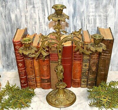 Antique French Bronze Figural Candelabra 3 Arm Candle Holder Floral Foliage