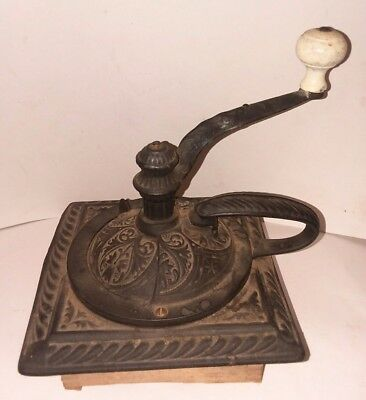Antique Collectible Rare COFFEE GRINDER Hand Crank Cast Iron Very Nice Look