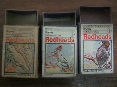 REDHEADS -VINTAGE AND RARE MATCHBOXES (BIRD SERIES ) Nos. 5, 9 & 13