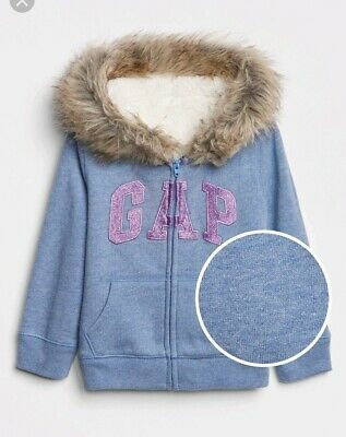 Gap Light Blue Pink Hoodie With  Glitter Logo & Soft Fleece Hood & Interior Bnwt