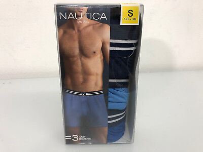New Nautica men's  Modal knit boxers 3 Pack size S 28-30 blue and black