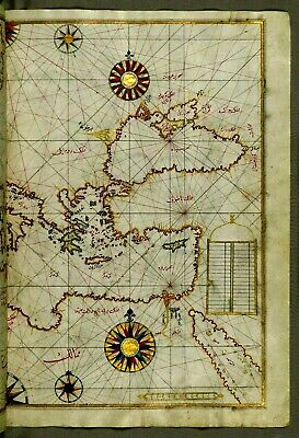 MAP MEDITERRANEAN 1525 Suleyman -Ink Pen and Brush Re-Production New