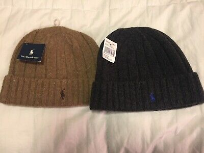 POLO RALPH LAUREN Beanie Hat Lambswool Blend Black with Red Logo ... d746c9add24e