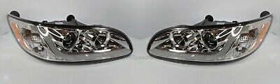 Pair Peterbilt Chrome Projection Headlights w/ Dual Function LED Light Bar