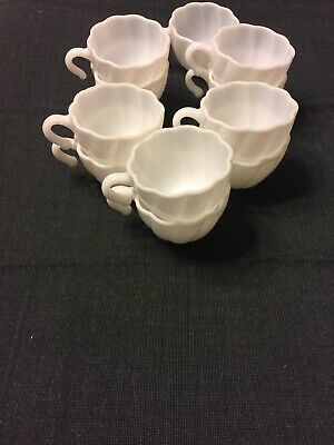 e6b00273ed6 VINTAGE WHITE MILK Glass Coffee Tea Cups Mugs punch cup Set of 11 ...