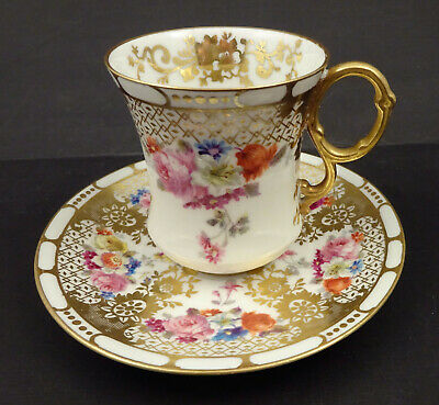 Antique Limoges Floral Chocolate Cup & Saucer