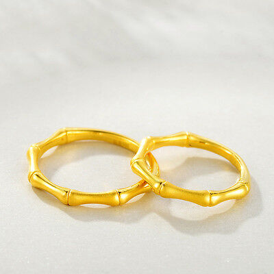 Hot New Arrival Pure 999 24K Yellow Gold Band Women/'s Smooth Ring US 4-9.5