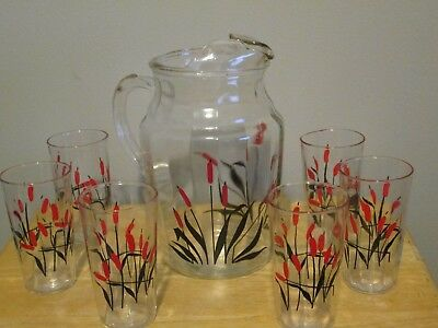 Glass Pitcher & Glasses Cattails Universal Potteries Cambridge