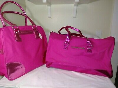 NWT Victorias Secret Large Duffle Bag & Tote, 2pc Luggage Set in PINK Canvas
