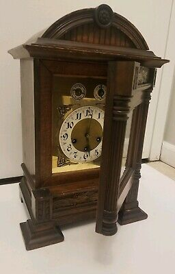 Antique German Junghans Wind Up Wooden Mantle Clock With Wind Up Key