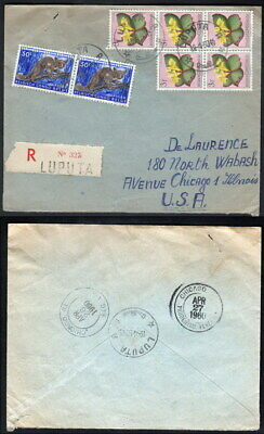 Belgian Congo 1950 Registered cover to USA (0154)