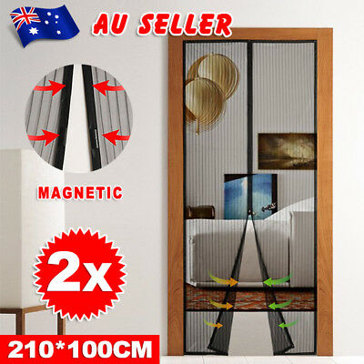 2 Packs Magnetic Door Mesh Fly Screen Magic Magna Bug Mosquito Black Curtain