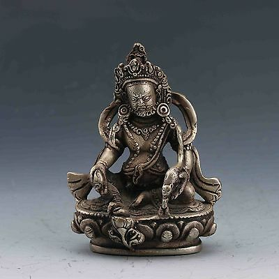 Collectible Chinese Old Tibet Silver Copper Handwork Carved Buddha Statue