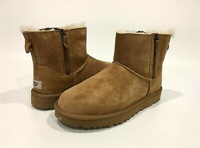 dfe53c1e38b UGG CLASSIC MINI Double Zip Ankle Boots Chestnut Brown Suede -Us 10 -New