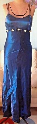 Blue full length formal bridesmaid dress with flowers size 10 womens