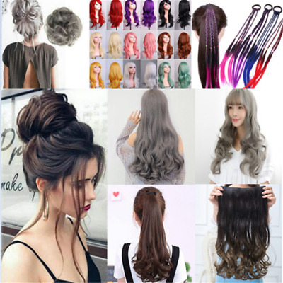 Women Wig Long Straight Wavy Curly Hair Messy Bun Cosplay Hair Accessories One